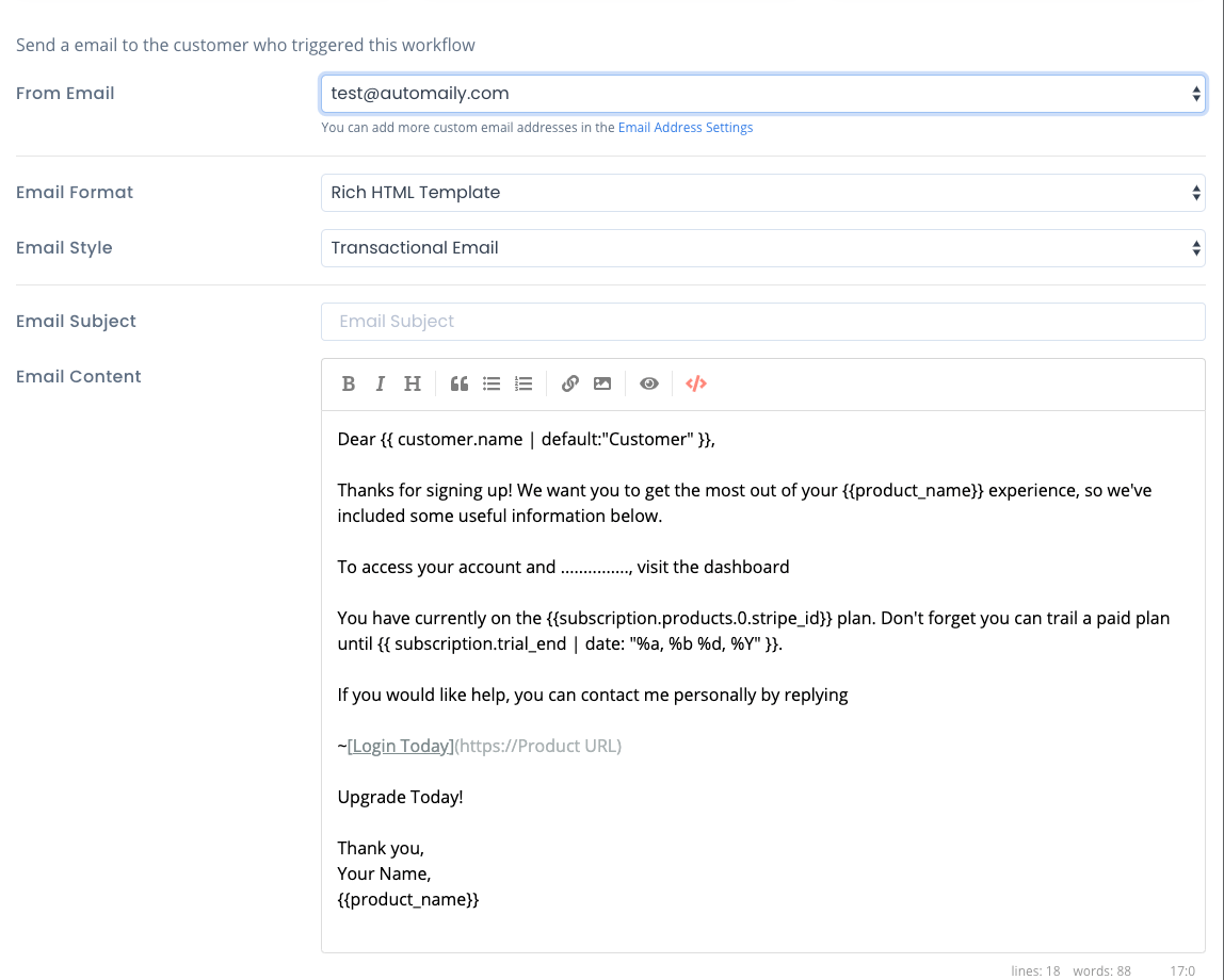 Write welcome email for stripe customer